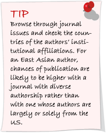 Browse through journal issues and check the countries of the authors' institutional affiliations.