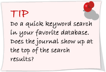Do a quick keyword search in your favorite database. Does the journal show up at the top of the search results?